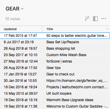 Evernote For Musicians